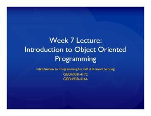 Week 7 Lecture: Programming