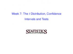 Week 7: The t Distribution, Confidence Intervals and Tests