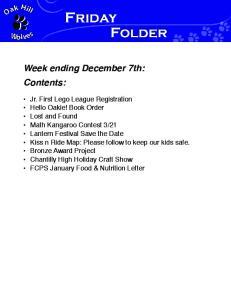 Week ending December 7th: Contents: