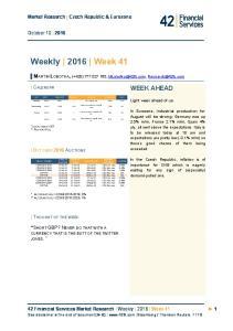 Weekly 2016 Week 41 WEEK AHEAD. Market Research Czech Republic & Eurozone. October