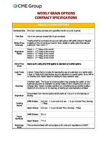 WEEKLY GRAIN OPTIONS CONTRACT SPECIFICATIONS