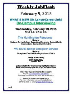 Weekly JobFlash February 9, 2015