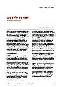 weekly review Week ending 22 June 2012