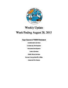 Weekly Update Week Ending August 28, 2015
