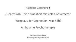 Wege aus der Depression- was hilft? Ambulante Psychotherapie
