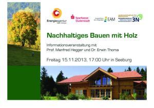 Wege zu Energieeffizienz und Nachhaltigkeit Winfried Binder