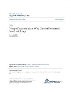 Weight Discrimination: Why Current Perceptions Need to Change