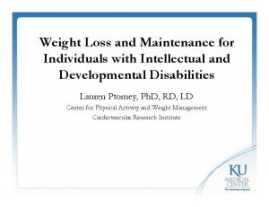 Weight Loss and Maintenance for Individuals with Intellectual and Developmental Disabilities