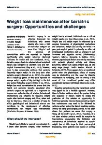 Weight loss maintenance after bariatric surgery: Opportunities and challenges