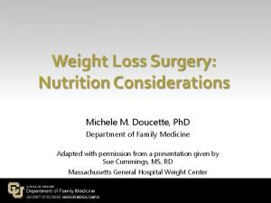 Weight Loss Surgery: Nutrition Considerations
