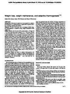 Weight loss, weight maintenance, and adaptive thermogenesis 1 3