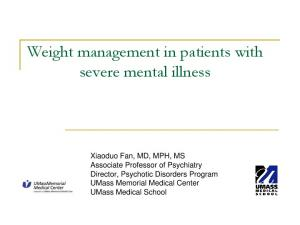 Weight management in patients with severe mental illness