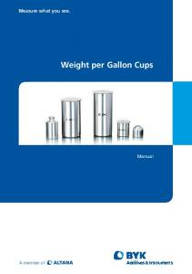 Weight per Gallon Cups