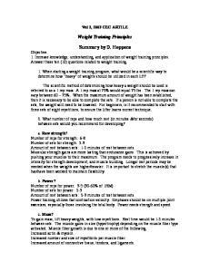 Weight Training Principles