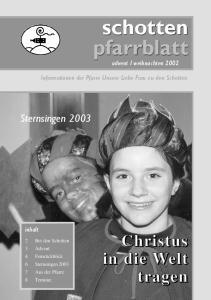 weihnachten 2002 Informationen der Pfarre Unsere Liebe Frau zu den Schotten inhalt