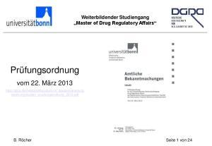 Weiterbildender Studiengang Master of Drug Regulatory Affairs