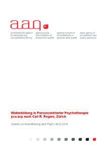Weiterbildung in Personzentrierter Psychotherapie pca.acp nach Carl R. Rogers, Zürich