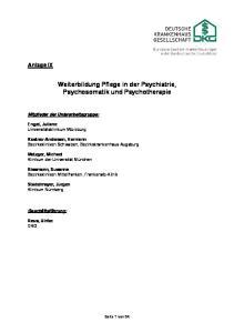 Weiterbildung Pflege in der Psychiatrie, Psychosomatik und Psychotherapie