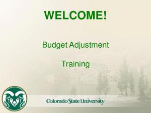 WELCOME! Budget Adjustment. Training