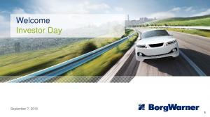 Welcome Investor Day. September 7,