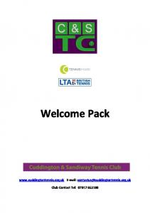 Welcome Pack.    Club Contact Tel: