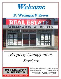Welcome. Property Management Services. To Wellington & Reeves