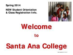 Welcome. Santa Ana College