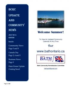 Welcome Summer! Visit  To View An Updated Community Calendar At Any Time. Bath Community Revitalization Committee