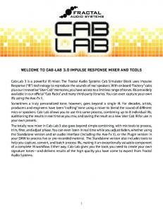 WELCOME TO CAB-LAB 3.0 IMPULSE RESPONSE MIXER AND TOOLS
