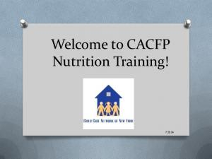 Welcome to CACFP Nutrition Training!