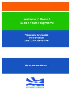 Welcome to Grade 8 Middle Years Programme