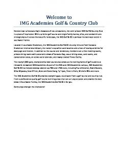 Welcome to IMG Academies Golf & Country Club
