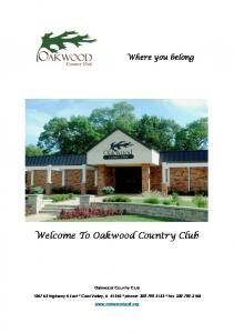 Welcome To Oakwood Country Club