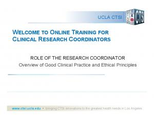 WELCOME TO ONLINE TRAINING FOR CLINICAL RESEARCH COORDINATORS