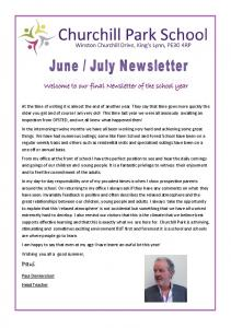 Welcome to our final Newsletter of the school year
