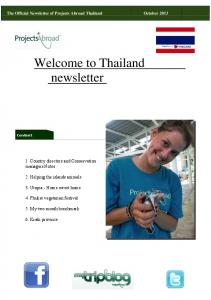 Welcome to Thailand newsletter