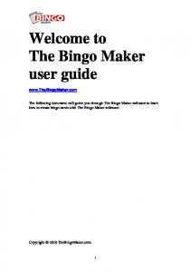 Welcome to The Bingo Maker user guide