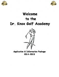 Welcome to the Dr. Knox Golf Academy