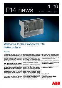 Welcome to the Procontrol P14 news bulletin