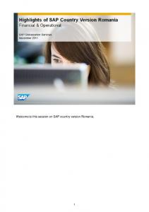 Welcome to this session on SAP country version Romania