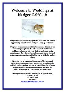 Welcome to Weddings at Nudgee Golf Club