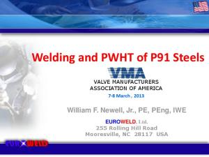 Welding and PWHT of P91 Steels