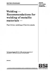 Welding Recommendations for welding of metallic materials