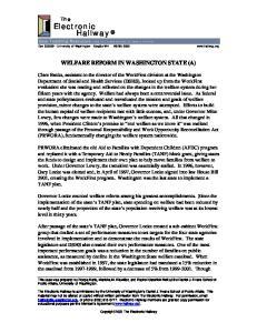 WELFARE REFORM IN WASHINGTON STATE (A)