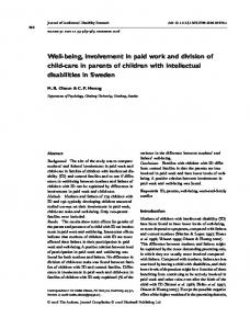 Well-being, involvement in paid work and division of child-care in parents of children with intellectual disabilities in Sweden