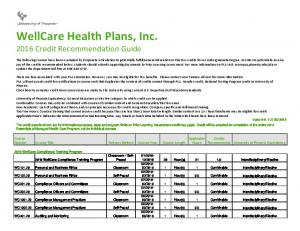 WellCare Health Plans, Inc Credit Recommendation Guide