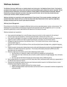 Wellness Assistant. Wellness Center Management
