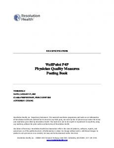 WellPoint P4P Physician Quality Measures Posting Book