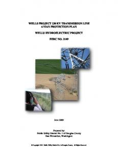 WELLS PROJECT 230 KV TRANSMISSION LINE AVIAN PROTECTION PLAN WELLS HYDROELECTRIC PROJECT FERC NO. 2149