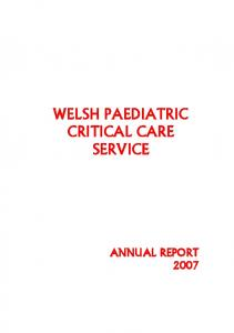 WELSH PAEDIATRIC CRITICAL CARE SERVICE